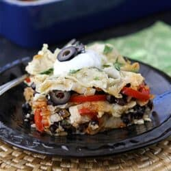 Mexican Chicken Taco Casserole with Olives, Peppers & Queso Fresco Cheese Recipe | cookincanuck.com