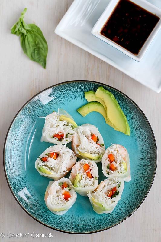 Shrimp, California Avocado & Rice Noodle Spring Rolls Recipe | cookincanuck.com #recipe #avocado