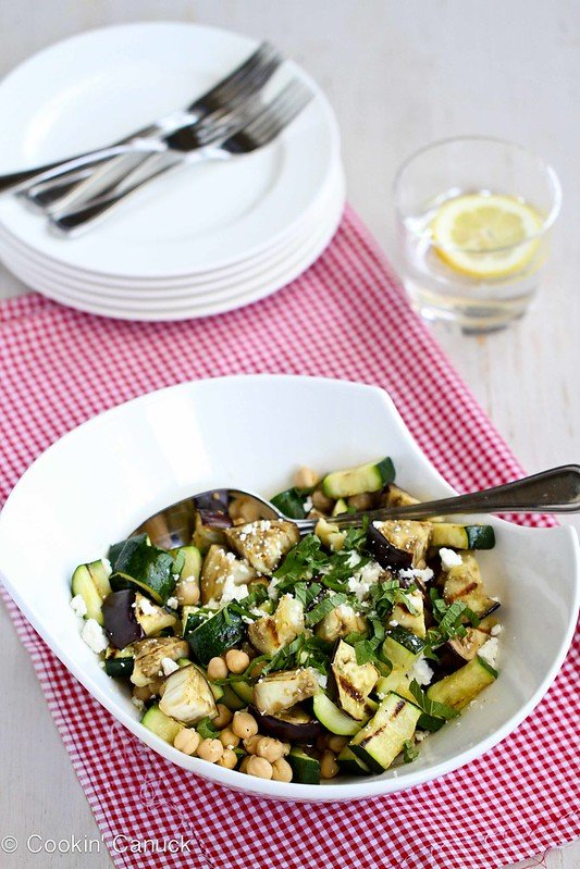 Grilled Eggplant and Zucchini Salad Recipe with Feta, Chickpeas and Mint - 173 calories and 2 Weight Watchers SP #vegetarian #recipe