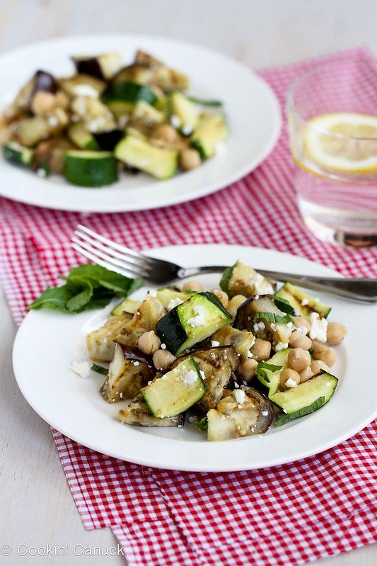 Grilled Eggplant & Zucchini Salad Recipe with Feta, Chickpeas & Mint | cookincanuck.com #vegetarian #recipe