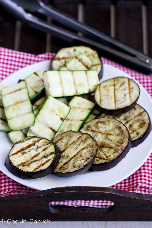 Grilled Eggplant & Zucchini Salad Recipe with Feta, Chickpeas & Mint   cookincanuck.com #vegetarian #recipe