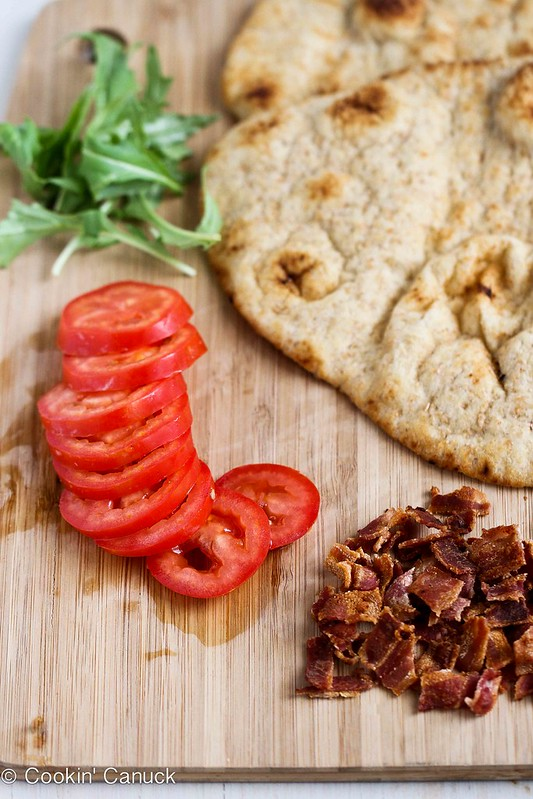 BLT Naan Pizza Recipe with Bacon, Arugula & Tomato | cookincanuck.com #recipe