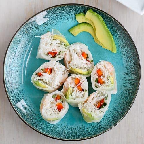 Shrimp, California Avocado & Rice Noodle Spring Rolls Recipe