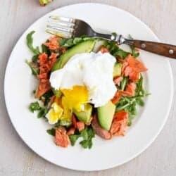 Poached Eggs Over Avocado & Smoked Salmon | cookincanuck.com