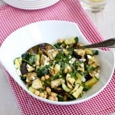 Grilled Eggplant & Zucchini Salad Recipe with Feta, Chickpeas & Mint