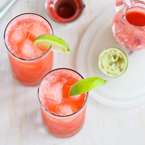 Fresh Strawberry & Lime Tom Collins Cocktail Recipe
