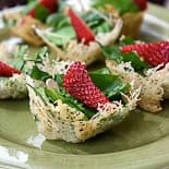 Crispy Parmesan Cheese & Rosemary Cups Recipe with Spinach & Strawberry Salad