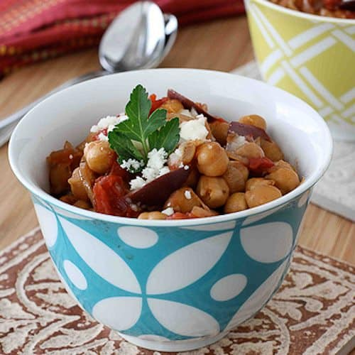 Crockpot Chickpea Stew with Balsamic Caramelized Onions