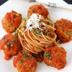 "Cannellini Bean Vegetarian ""Meatballs"" with Tomato Sauce Recipe | cookincanuck.com"