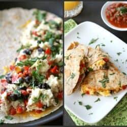 Southwestern Breakfast Quesadilla Recipe with Eggs, Black Beans & Salsa