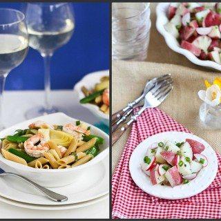 Healthy Potato Salad & Basil Shrimp Pasta Salad Recipes