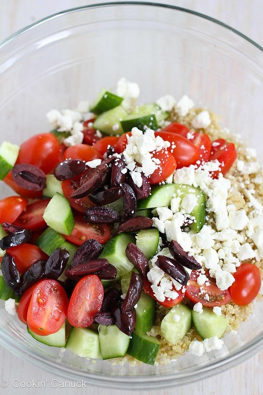 Quinoa Greek Salad with Tomato, Cucumber & Feta Cheese | cookincanuck.com #salad #quinoa