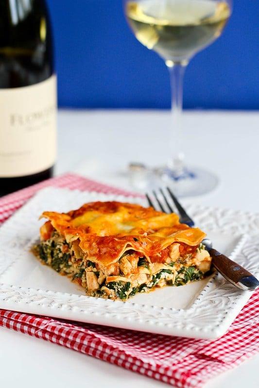 Healthy Chicken & Spinach Lasagna Recipe | cookincanuck.com for allparenting.com #lasagna #pasta