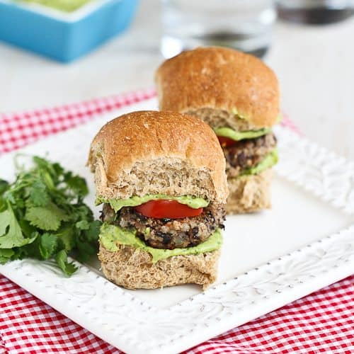 Black Bean Sliders Recipe with Creamy Avocado Sauce