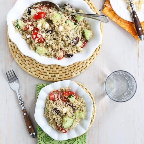 Quinoa Greek Salad with Tomatoes, Cucumber & Feta Cheese