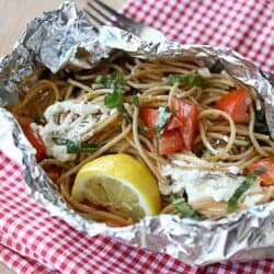 Whole Wheat Pasta in Foil Recipe with Goat Cheese & Tomatoes…For Camping!