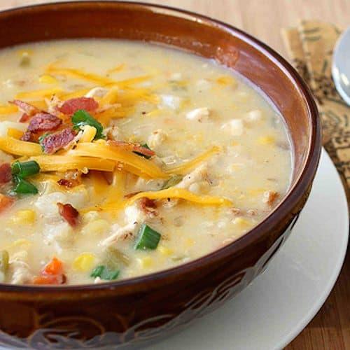 Chicken, Corn & Potato Chowder Recipe w/ Green Chiles & Cheddar Cheese