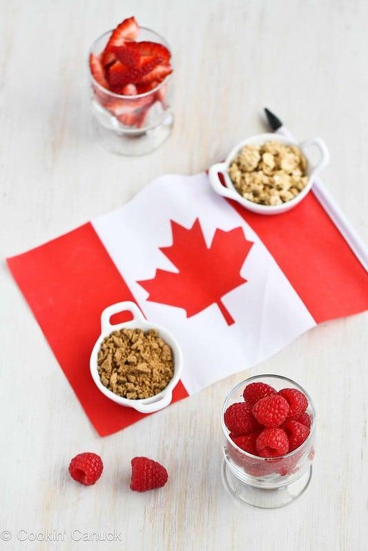 Triple Berry Gingersnap & Granola Yogurt Parfait Recipe | cookincanuck.com #recipe #4thofJuly #CanadaDay
