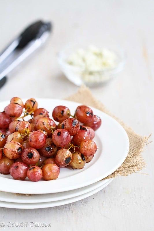 Easy Grape & Gorgonzola Topping Recipe for Chicken, Pork or Crostini | cookincanuck.com #recipe