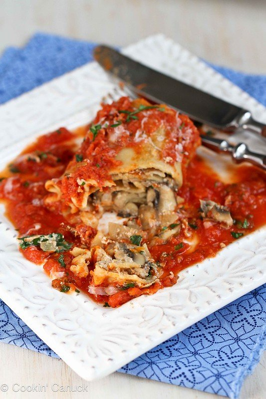 Kale, Mushroom & Sun-Dried Tomato Lasagna Rolls Recipe {Vegetarian} | cookincanuck.com #recipe #vegetarian