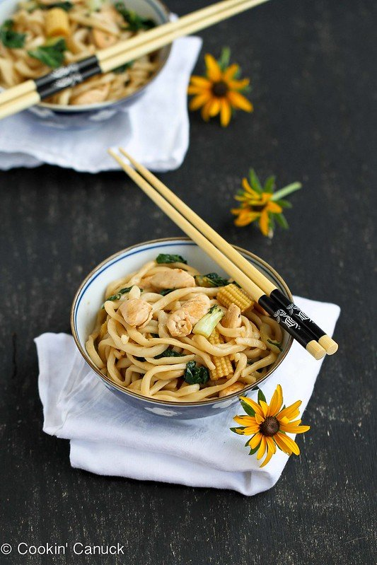 Chinese Noodle Recipe with Chicken, Bok Choy & Hoisin Sauce | cookincanuck.com #recipe #healthyrecipe #chickenrecipe