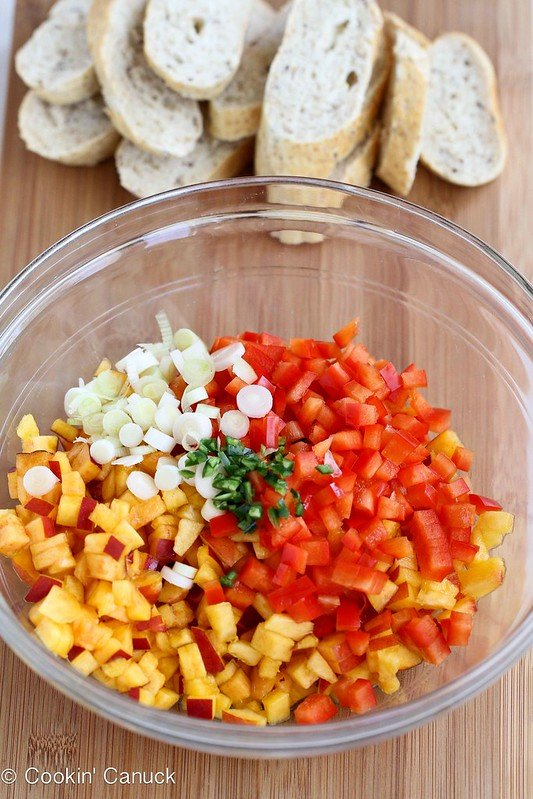 Sweet Nectarine Crostini Recipe with Feta Cheese | cookincanuck.com #recipe #appetizer #healthyrecipes