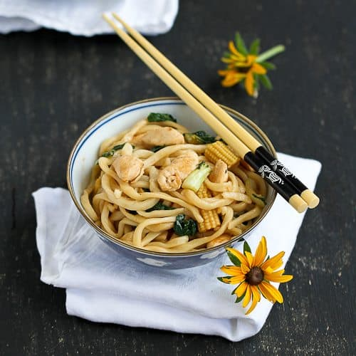 Chinese Noodles with Chicken, Bok Choy & Hoisin Sauce