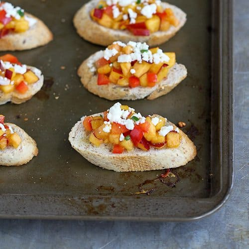 Sweet Nectarine Crostini Recipe with Feta Cheese