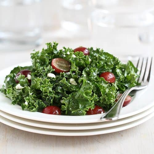 Cookin' Canuck | Chopped Kale Salad Recipe with Grapes & Feta Cheese
