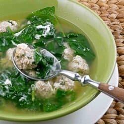 Italian Wedding Soup (with Turkey & Sausage Meatballs & Spinach) Recipe | cookincanuck.com