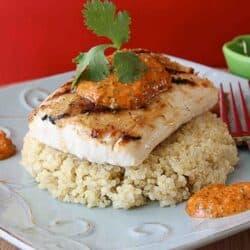 Grilled Mahi Mahi with Red Pepper & Cilantro Pesto Recipe | cookincanuck.com