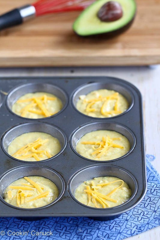 Healthy Cornmeal Avocado Muffin Recipe with Cheddar Cheese | cookincanuck.com #recipe #avocado #muffin #schoollunch