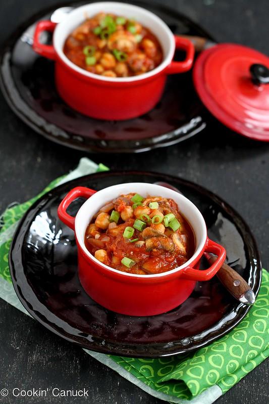 Spiced Mushroom, Chickpea & Tomato Stew Recipe | cookincanuck.com #vegetarian #vegan #stew