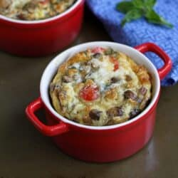 Make-Ahead Baked Egg Recipe with Turkey Sausage, Mushrooms & Tomatoes
