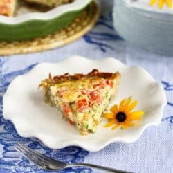 Potato-Crusted Vegetarian Quiche Recipe with Zucchini, Tomatoes & Feta | cookincanuck.com