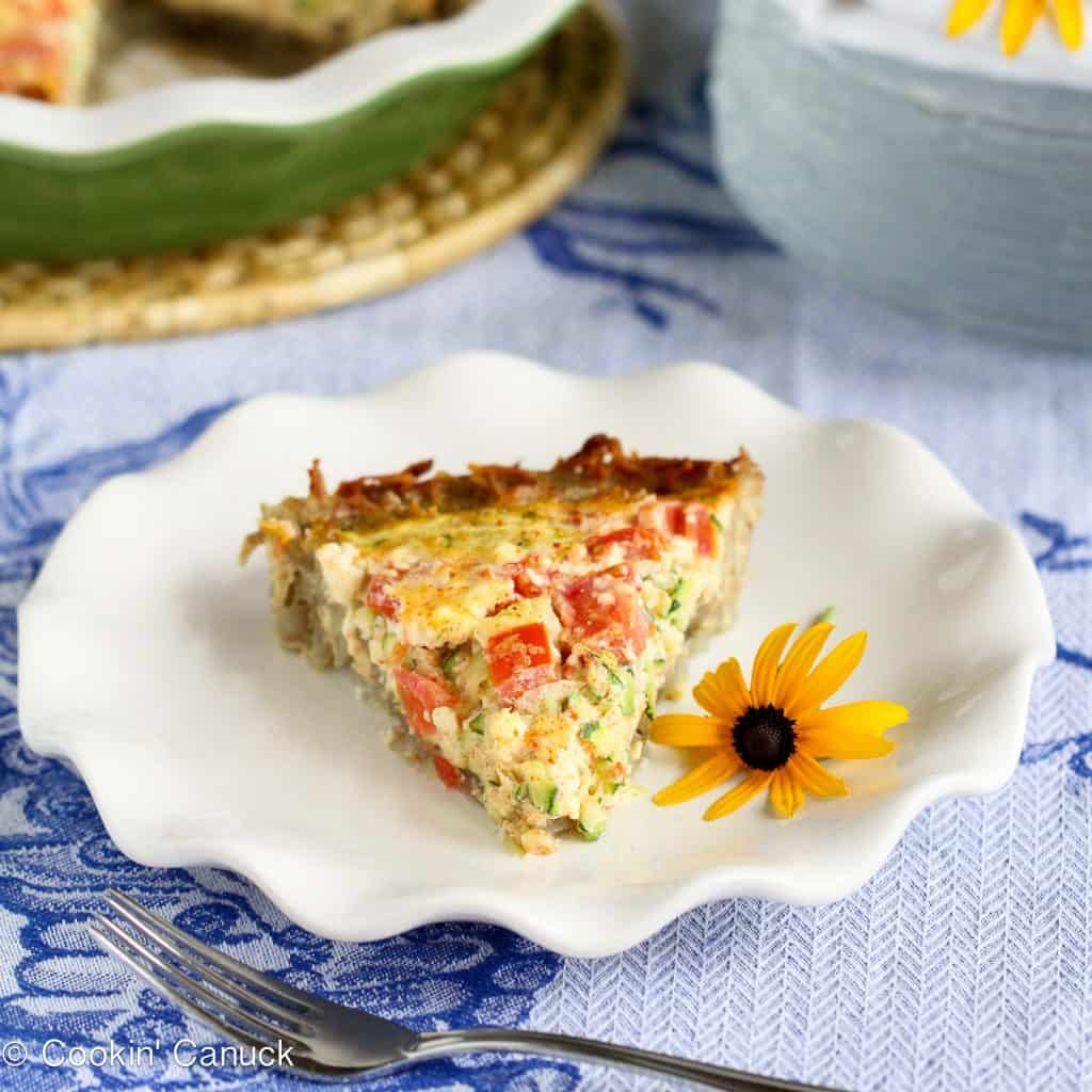 Potato-Crusted Vegetarian Quiche Recipe with Zucchini, Tomatoes & Feta