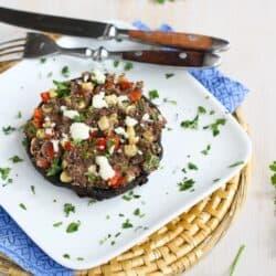 Southwestern Stuffed Portobello Mushroom Recipe with Cumin Black Beans {Vegetarian} | cookincanuck.com