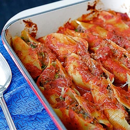 ... - Baked Pasta Shells with Beef, Sundried Tomatoes & Spinach Recipe