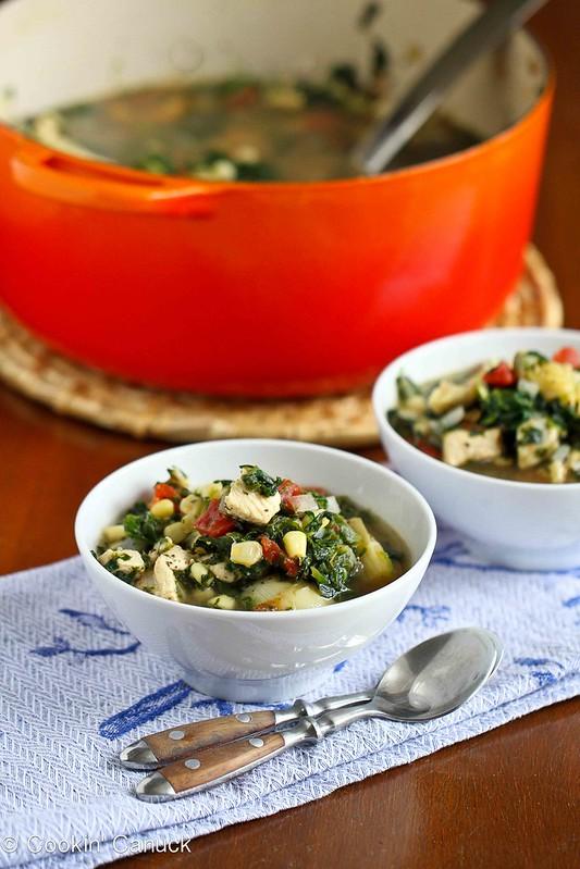 Chicken, Artichoke & Spinach Soup Recipe | cookincanuck.com #soup #chicken