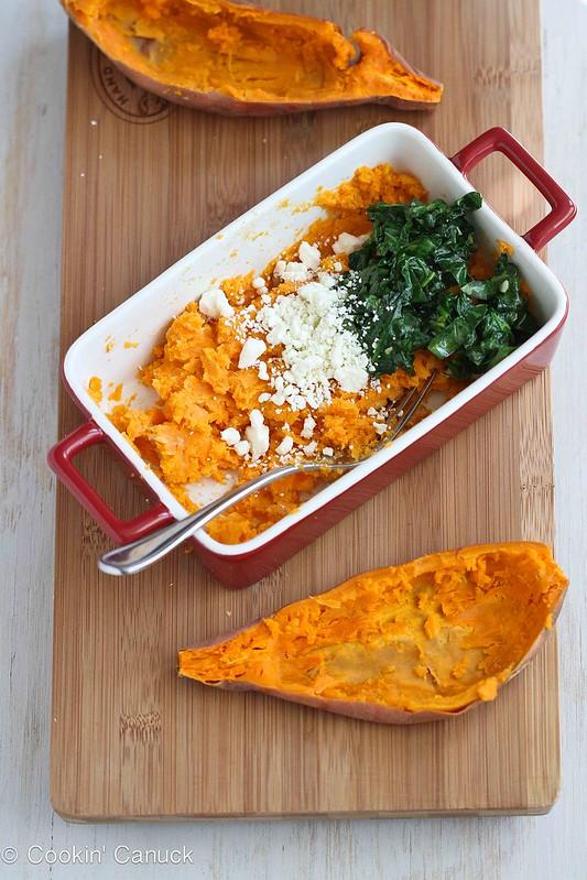 Stuffed Sweet Potato Recipe with Spinach, Hummus & Feta | cookincanuck.com #vegetarian #sweetpotato
