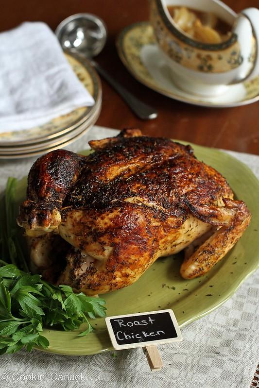 Roasted Chicken Recipe with Deep Onion-Garlic Gravy...195 calories and 5 Weight Watcher PP | cookincanuck.com #gluten-free #dinner