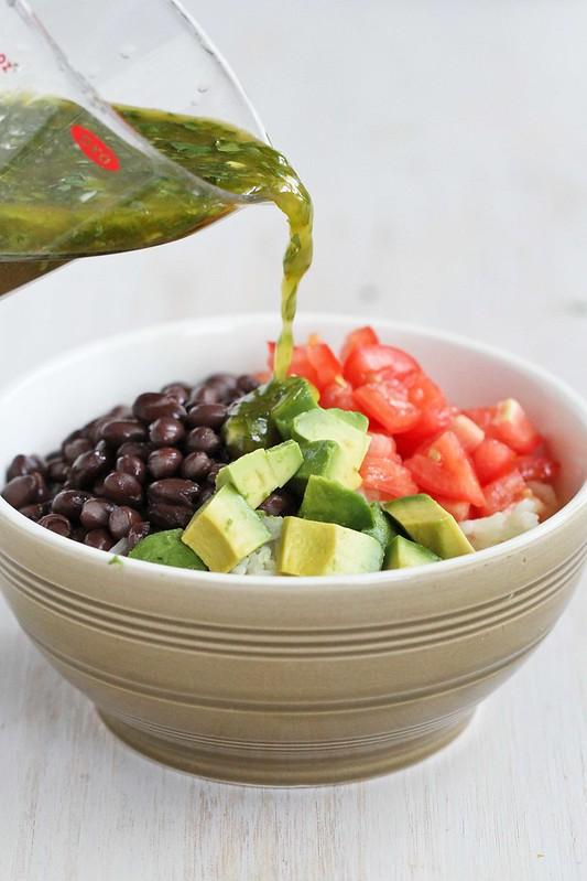 Easy Rice Bowl Recipe with Black Beans, Avocado & Cilantro Dressing | cookincanuck.com #vegetarian #glutenfree