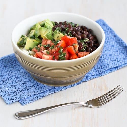 Easy Rice Bowl Recipe with Black Beans, Avocado & Cilantro Dressing {Vegetarian & Gluten-Free}