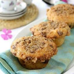 Heath Bar Chocolate & Toffee Coffee Cake Muffins Recipe | cookincanuck.com