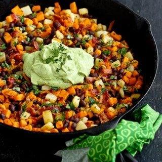 Sweet Potato Hash Recipe with Creamy Avocado Sauce
