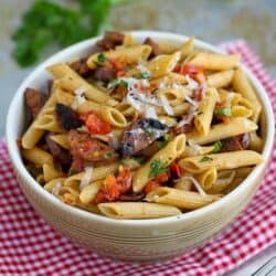 Roasted Tomato & Chicken Sausage Whole Wheat Pasta Recipe | cookincanuck.com