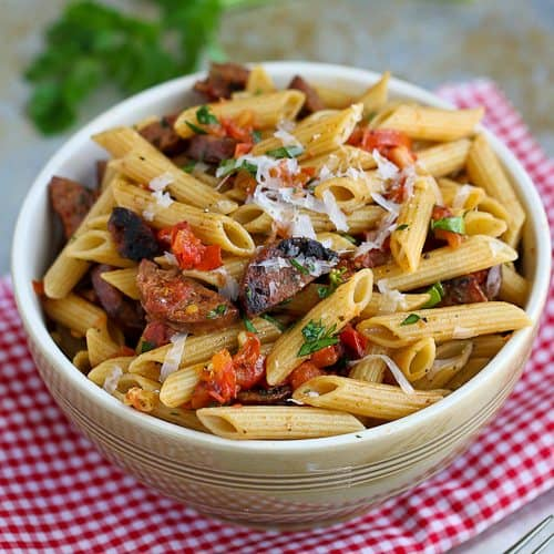 ... ' Canuck | Roasted Tomato & Chicken Sausage Whole Wheat Pasta Recipe