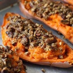 Twice-Baked Sweet Potato (Yam) Recipe with Chipotle Pecan Streusel | cookincanuck.com
