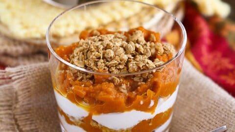 Healthy Spiced Pumpkin, Yogurt & Granola Parfait Recipe