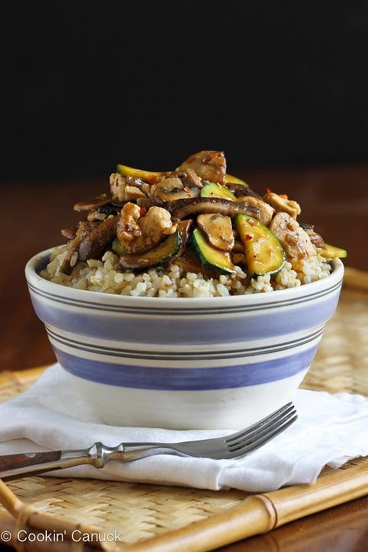 Chicken Hoisin Rice Bowl Recipe with Mushrooms & Zucchini | cookincanuck.com #chicken